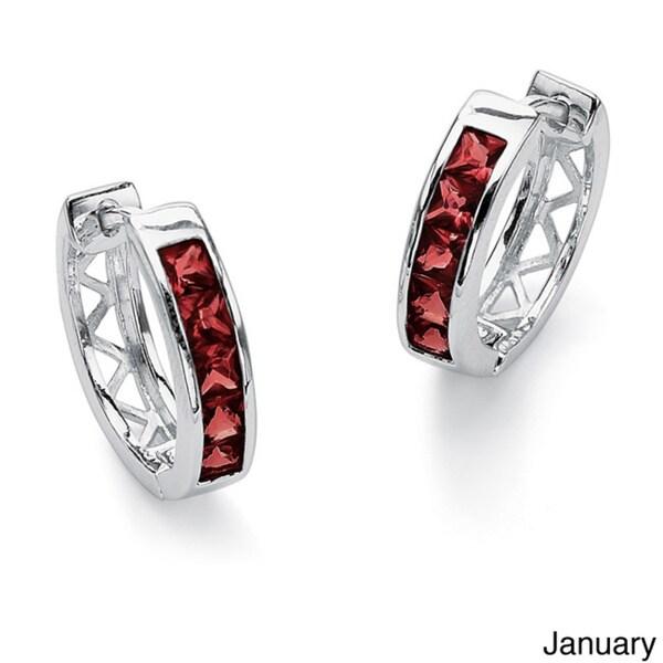 Princess-Cut Channel-Set Birthstone Sterling Silver Hoop Earrings Color Fun