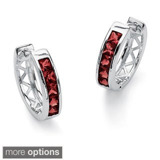 Princess-Cut Channel-Set Birthstone Sterling Silver Hoop Earrings Color Fun