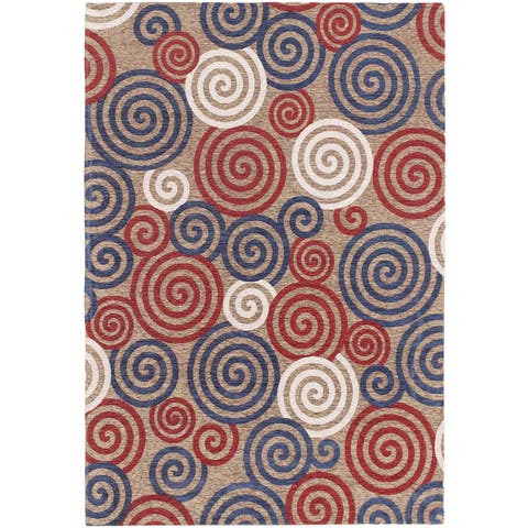 Portico Beige, Navy, Red Open Field Rug