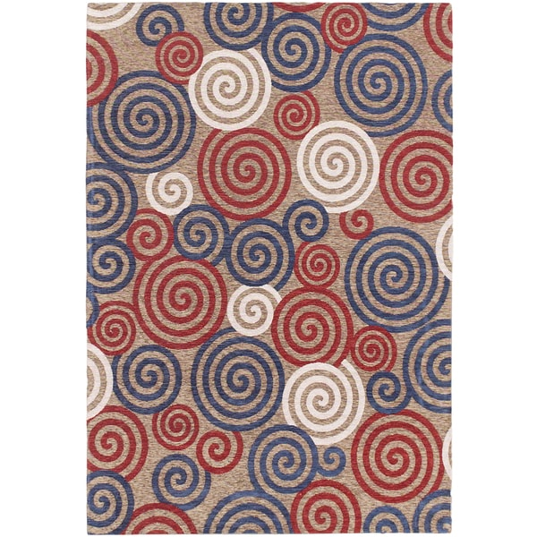 "Portico Beige, Navy, Red Open Field Rug (4'7"" x 6'7"")"
