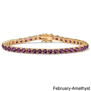 Round Birthstone Tennis Bracelet In Gold-Plated Color Fun (More options available)