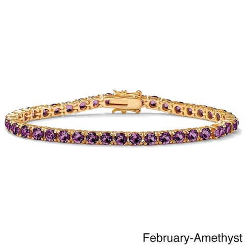 Round Birthstone Tennis Bracelet in Gold-Plated Color Fun