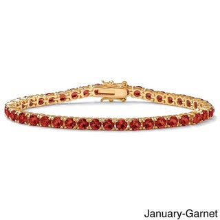 Link to Round Birthstone Tennis Bracelet in Gold-Plated Color Fun Similar Items in Birthstone Jewelry