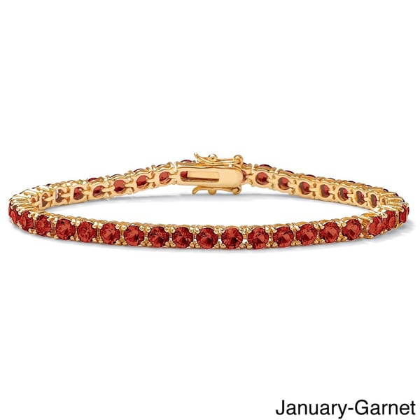 Round Birthstone Tennis Bracelet in Gold-Plated Color Fun. Opens flyout.