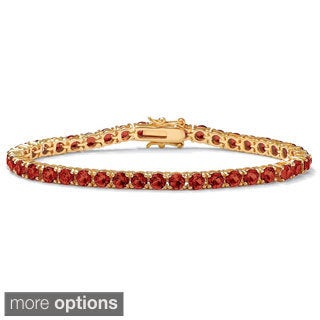 PalmBeach Round Birthstone Tennis Bracelet in 18k Gold-Plated Color Fun