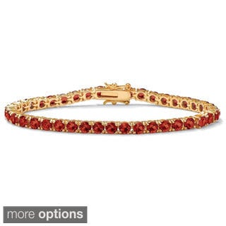 Round Birthstone Tennis Bracelet in 18k Gold-Plated Color Fun