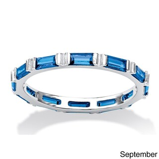 Baguette Birthstone Stackable Eternity Band in .925 Sterling Silver Color Fun (More options available)