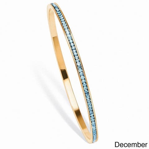 Birthstone Stackable Eternity Bangle Bracelet in Yellow Gold Tone Color Fun