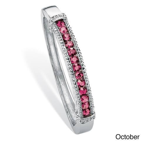 Round Birthstone Bangle Bracelet in Silvertone Color Fun