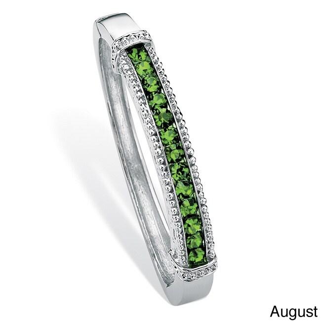 Palm Beach Jewelry Round Birthstone Bangle Bracelet in Si...
