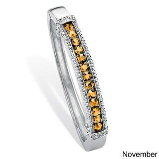 Round Birthstone Bangle Bracelet in Silvertone Color Fun (Option: Citrine - Yellow - November)