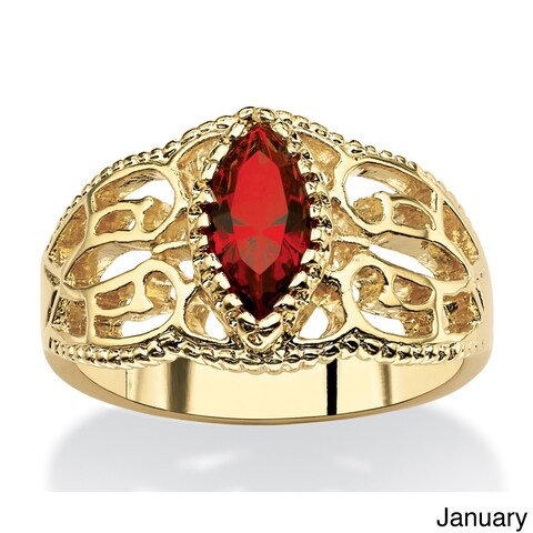 14k Goldplated Finish Marquise-cut Birthstone Filigree Ring