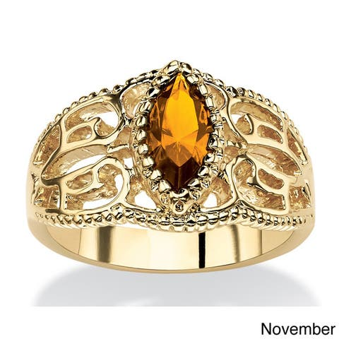 Goldplated Finish Marquise-cut Birthstone Filigree Ring