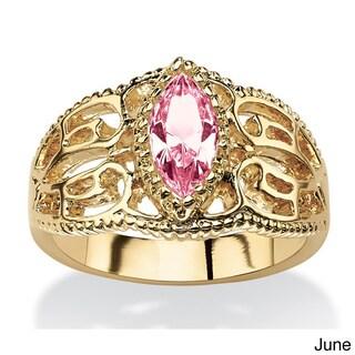 14k Goldplated Finish Marquise-cut Birthstone Filigree Ring