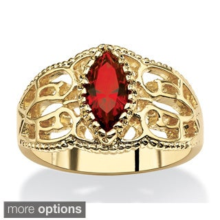 Goldplated Finish Marquise-Cut Birthstone Filigree Ring