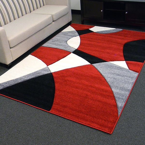 hollywood design-284 abstract wave design red area rug (5x7