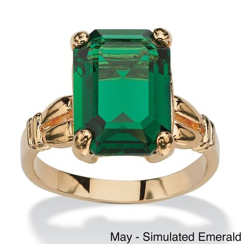 Gold-Plated and Emerald-Cut Crystal Birthstone Ring