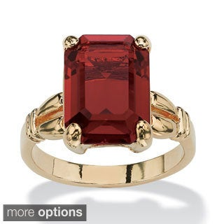 14k Gold-Plated and Emerald-Cut Crystal Birthstone Ring