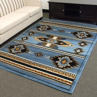 DonnieAnn TajMahal Blue Southwestern Design Area Rug (5'x7')
