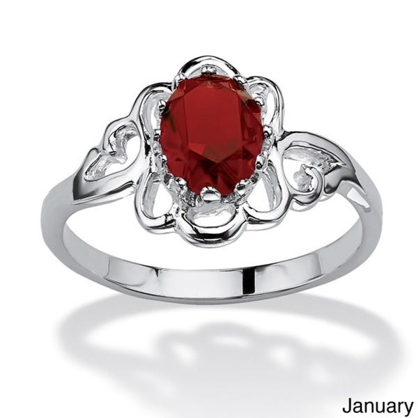 Oval-Cut Open Scrollwork Birthstone Ring in Sterling Silver Color Fun. Opens flyout.