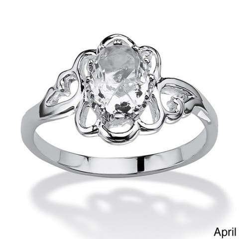 Oval-Cut Open Scrollwork Birthstone Ring in Sterling Silver Color Fun