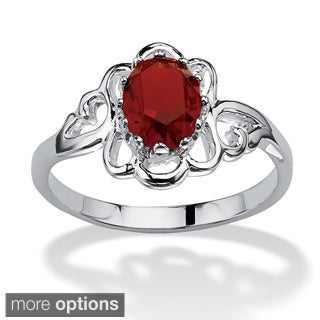 Oval-Cut Open Scrollwork Birthstone Ring in Sterling Silver Color Fun (More options available)