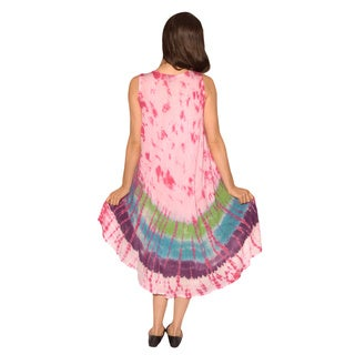 Women's Tie-dyed Rayon Sleeveless Dress (India)