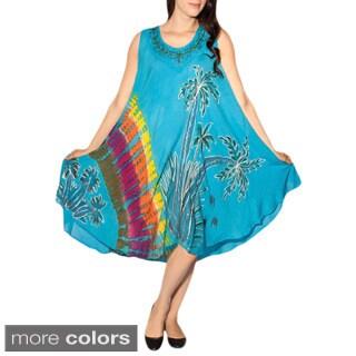 Women's Tie Dye Rasta Sleeveless Sundress (India)