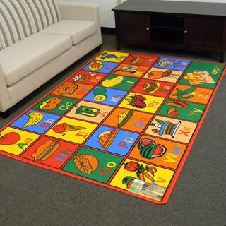 Paradise Multi-color Alphabet Food Design Area Rug (5x7)
