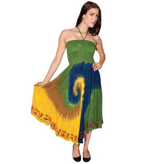 Handmade Women's Tie-dye Rasta Beach Dress (India)