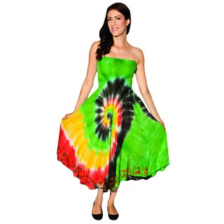 Handmade Women's Multi-colored Tie-dye Rasta Beach Dress (India)
