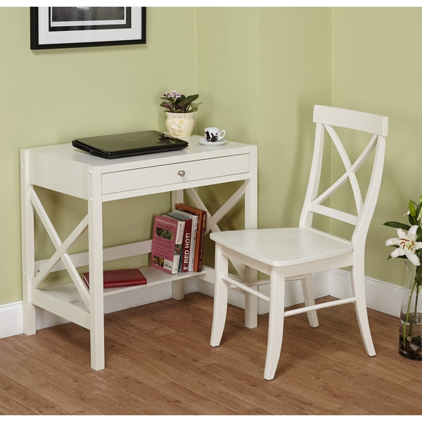 Simple Living Antique White X 2-piece Study Set - Free Shipping Today