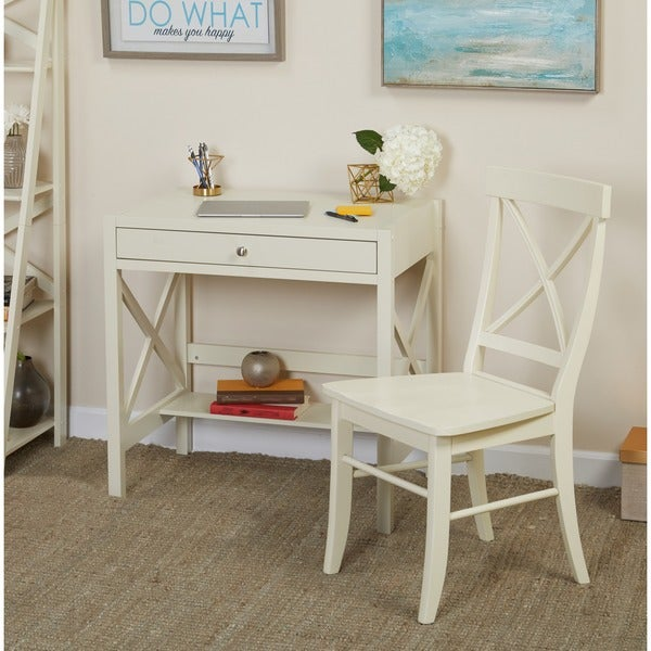 Simple Living Antique White X 2-piece Study Set - Simple Living Antique White X 2-piece Study Set - Free Shipping
