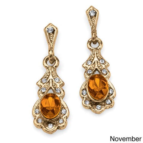 Oval-Cut Birthstone Drop Earrings in Antiqued Yellow Gold Tone Color Fun