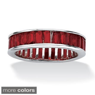 PalmBeach Emerald-Cut Birthstone Eternity Band in Sterling Silver Color Fun