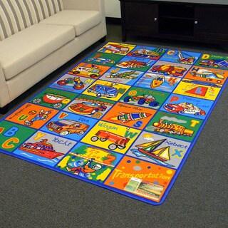 DonnieAnn Paradise Alphabets Transportation Multicolor Area Rug (5'x7')