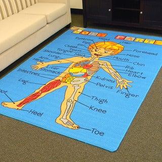 DonnieAnn Paradise Blue Body Parts Design Area Rug (5'x7')