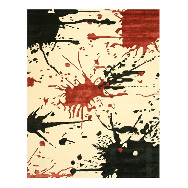 Hand-tufted Wool & Viscose Ivory Contemporary Abstract Noho Rug (5' x 8')