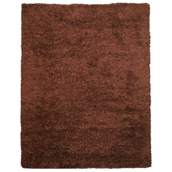 Handwoven Wool & Viscose Brown Contemporary Solid Shaggy Rug - 5' x 8'