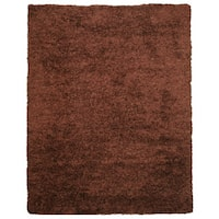 Handwoven Wool & Viscose Brown Contemporary Solid Shaggy Rug (5' x 8')