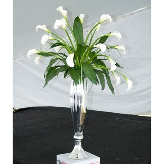 Fluted Hand-blown Silver Glass Vase Small