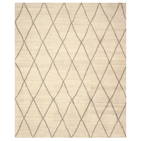 Hand-knotted Wool Ivory Transitional Trellis Trellis Moroccan Rug - 8' x 10'