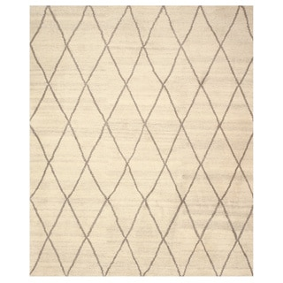 Hand-knotted Wool Ivory Transitional Trellis Trellis Moroccan Rug (8' x 10')