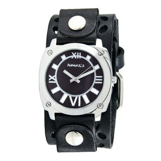 Nemesis Women's Black/White Roman Numerals Watch with Black Styled Perforated Leather Cuff Band