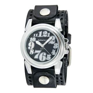 Nemesis Women's Silver/Black Trendy Oversized Watch with Black Perforated Leather Cuff Band