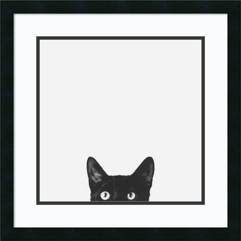 Framed Art Print 'Curiosity (Cat)' by Jon Bertelli 22 x 22-inch