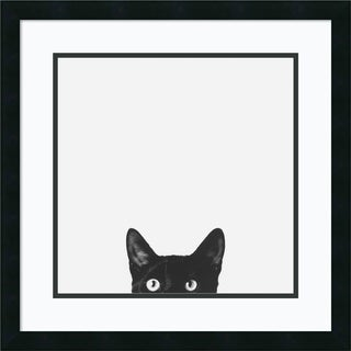 Framed Art Print 'Curiosity (Cat)' by Jon Bertelli 22 x 22-inch