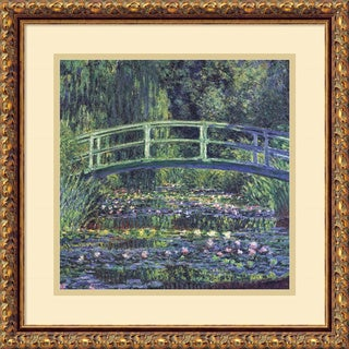 Claude Monet 'Water Lily Pond, 1899 (blue)' Framed Art Print 18 x 18-inch