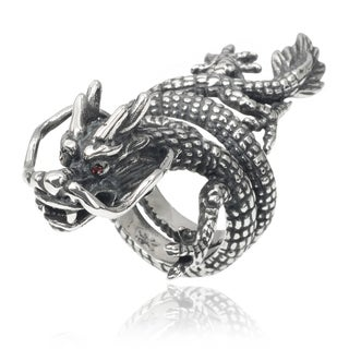 Vance Co. Men's Stainless Steel Cubic Zirconia Dragon Ring