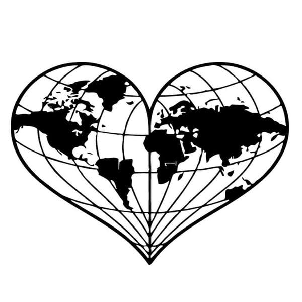 Heart Shaped World Map Wall Vinyl Art Free Shipping On